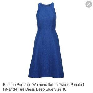 BANANA REPUBLUC BLUE ITALIAN TWEEN PANELED DRESS 0
